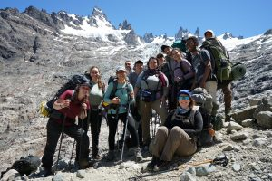 VCU ENVS Study abroad course on Wilderness in Patagonia. Class poses in alpine setting
