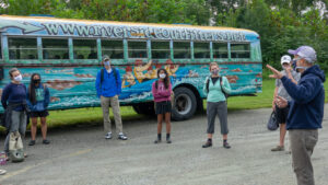 Riverside Outfitters provided access to a large school bus to enable social distancing during a short shuttle between put-in and take-out.