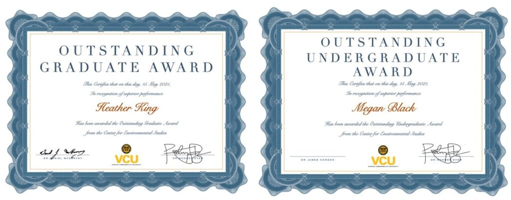 """Certificates for """"Most Outstanding"""" Graduate & Undergraduate Student, Spring 2021"""